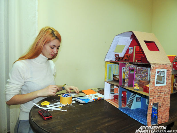 Макет кукольного домика своими руками из картона 76